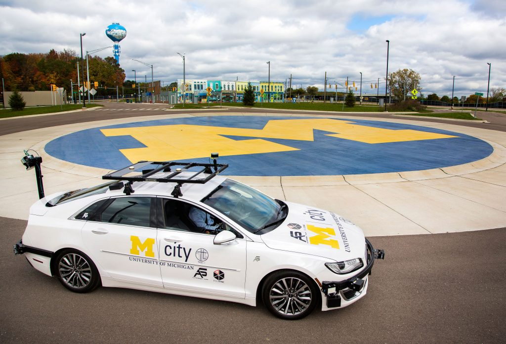 Connected and autonomous vehicle at M city test facility