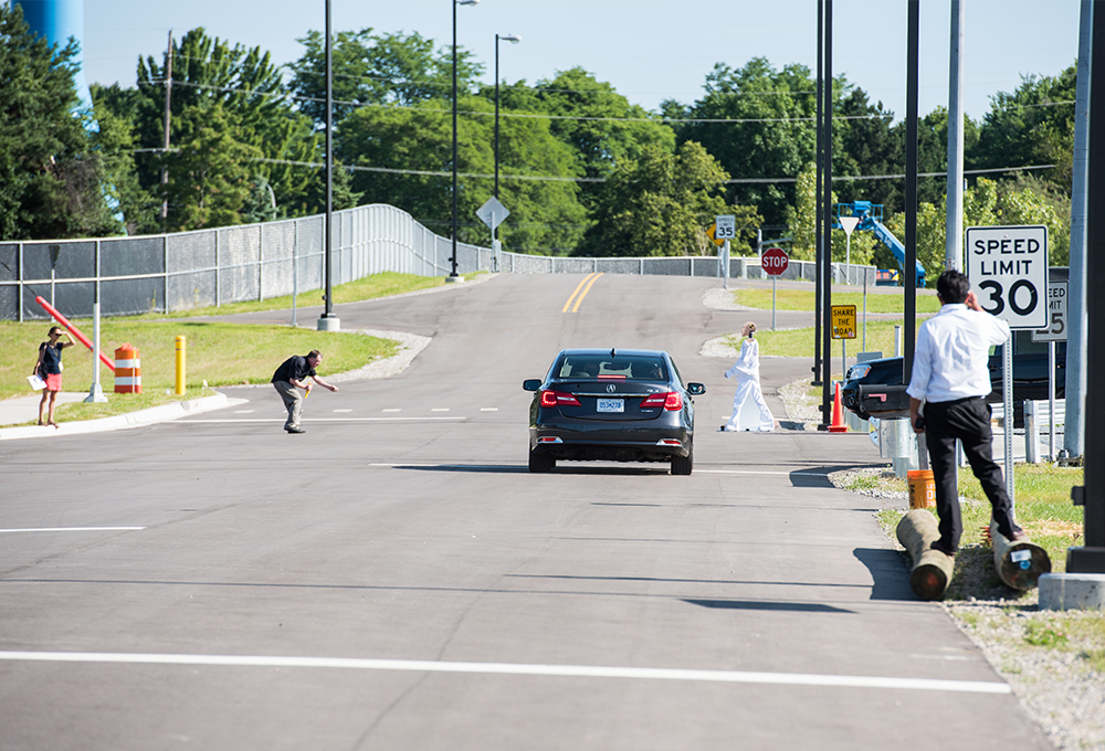 testing vehicle and pedestrian at M city test facility